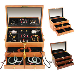 Large Lockable Velvet Jewelry Display Box Necklace Earing Storage Case Organizer