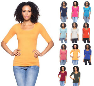 Women#x27;s Basic Seamless Stretch Scoop Neck 3 4 Sleeve Fitted Top T Shirt Solids