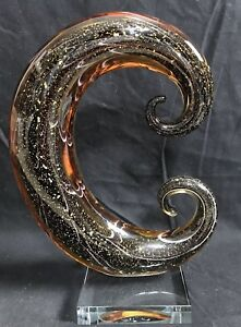 Vintage Murano Style Abstract Curved Amber Glass w Black Gold Flake~YGF $45.00