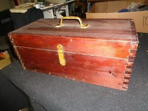 ANTIQUE WOOD TACKLE BOX FISHING BOX FULL