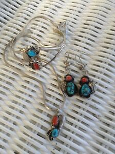 Vintage Navajo Necklace Cuff Bracelet & Earrings Set - Silver Turquoise Coral