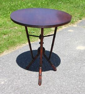 Antique Victorian Style Faux Bamboo Walnut Wood Tripod Round Occasional Table