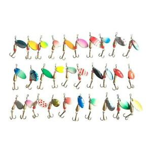 Lot 30 PCS Mixed Colorful Trout Spoon Metal Fishing Lures Spinner Baits Bass