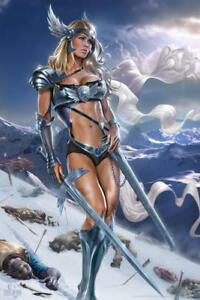 Valkyrie Warrior Woman Tom Wood Fantasy Art Mural Poster 36x54 inch $24.99