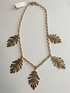 New Kate Spade New Leaf Collection Bold Statement Necklace Yellow Gold