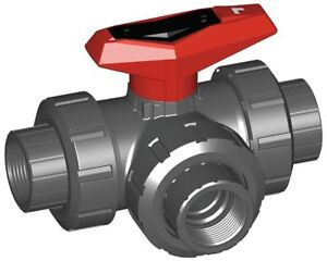 GF Piping Systems PVC FNPT x FNPT x FNPT Ball Valve Tee 1-12