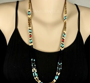Old Pawn NAVAJO Natural Onyx Turquoise Coral Heishi Slip Over 3 Strand NECKLACE