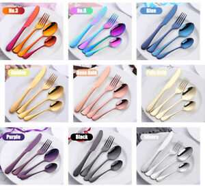 Multi Color Stainless Steel Flatware 4 Piece Set