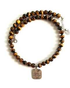 Necklace Men Male Choker Pendant Dreaming of the Sea Natural Tiger Eye Beads