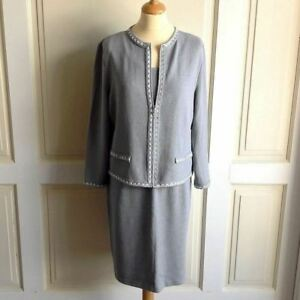 St. John Collection Marie Gray Lt Blue Knit Cardigan Size 12 Tank Top L Skirt 14