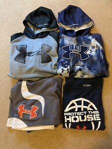 Boys Youth XL Lot Of Under Armour ~ 2 Storm 1 Hoodies ~ Shorts Big Logo ~t-shirt
