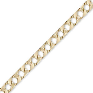 Jewelco London Mens 9ct Gold Lizard Curb 9mm Cast Chain Necklace