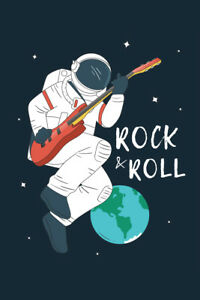 Astronaut Playing Rock and Roll on Guitar Outer Space Art Print Poster 12x18