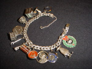 VINTAGE CHARM BRACELET WITH STERLING CHARMS