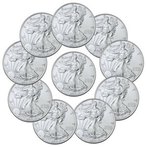 Lot of 10 2019 1 oz American Silver Eagle $1 GEM BU Coins SKU56934