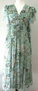 GUCCI  Green Color Floral Beads  Embroidered  Cap Sleeve   Size   42