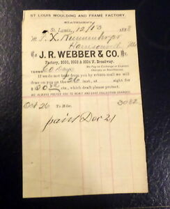 1888 J R Webber Co St Louis Receipt Molding and Frame Factory