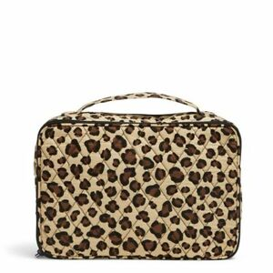 New Vera Bradley Large Blush Brush Case Cosmetic Makeup Leopard