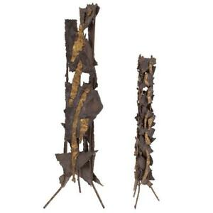 Pair of Phenomenal Brutalist Metal Sculptures $950.00