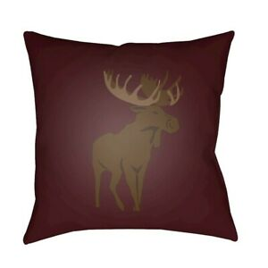 Moose by Surya Poly Fill Pillow, Red/Brown, 18' x 18' - MOO003-1818