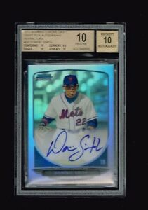 DOMINIC SMITH 2013 BOWMAN CHROME DRAFT PICK AUTO REFRACTOR BGS 10 PRISTINE METS