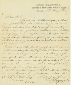 G. T. Beauregard Civil War Letter of Thanks for Donation of Wool Socks to Army