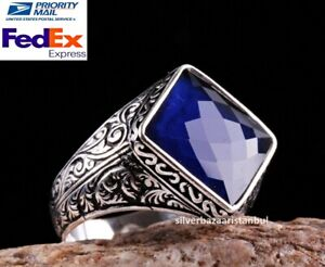 Turkish Jewelry 925 Sterling Silver New blue SAPPHİRE stone Mens ring ALL SİZE 3