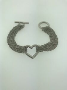 TIFFANY AND CO Sterling Silver Multi-chain Heart Toggle Bracelet