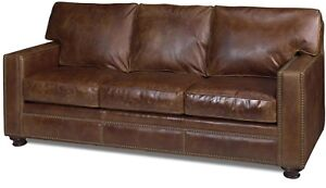 NEW LEATHER SOFA  CLASSIC NAILHEAD  WOOD  TOP GRAIN LEATHER  HAND-CRAFTED US