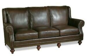 NEW LEATHER SOFA HAND-CRAFTED USA  HIGH BACK  NAILHEAD  TOP GRAIN LEATHER