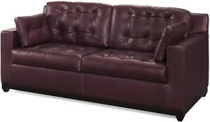 NEW LEATHER SOFA CRAFTED USA  BUTTON BACK  SQUARE ARMS  TOP GRAIN LEATHER
