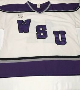 Men's AK Athletic Knit Weber State University Hockey Jersey 2XL White Purple #11