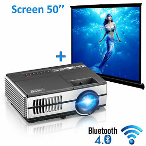 2800lms Mini Android Projector HD LED Bluetooth Wireless Home Theater Movie Apps