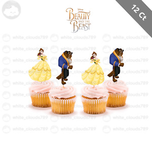 12 Beauty and the Beast Bella Cupcake Cake Topper Food Pick Favor Party Birthday