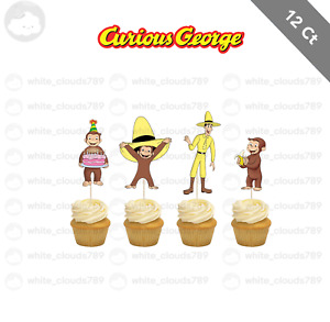 12 Curious George Cupcake Cake Topper Food Pick Favor Party Birthday Kid