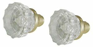Mortise Lock Crystal Glass Door Knob Replacement Set, Brass Finish Base, #43000