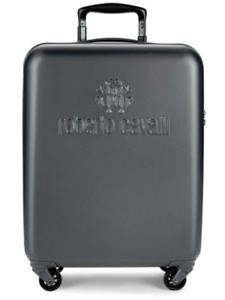 ROBERTO CAVALLI LOGO HARDSHELL BLACK SUITCASE NEW TAG DESIGNER LUGGAGE CARRY ON