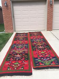 "Vintage 1940-50's Pair Of Rare Turkish Kilim Birds Rugs Runners -  Size 12"" X 3"""