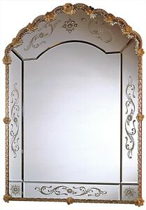 WALL MIRROR DAVID MICHAEL REFLECTIONS SANDSTONE VENETIAN ETCHED GLASS NEW