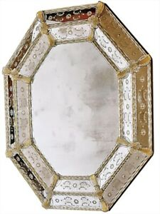 WALL MIRROR DAVID MICHAEL REFLECTIONS OCTAGONAL SANDSTONE NEW HAND-ETCHED