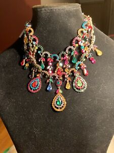 Natasha MULTI COLOR STONE STATEMENT NECKLACE CRYSTALS RHINESTONES BIB