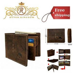 Mens Genuine Leather RFID Blocking Bifold Wallet With Coin Pocket Brown 4.7