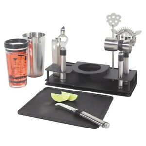 OGGI Pro Stainless-Steel 10-Piece Cocktail Shaker and Bar Tool Set 7150
