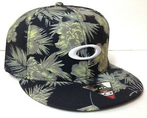 OAKLEY SNAPBACK HAT Black&GrayGreen Tropical Hawaii Fern Beach Surf menwomen