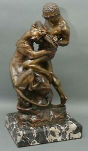 Antique EDOUARD DROUOT French Bronze Sculpture Nude Slave Man Fighting Tiger