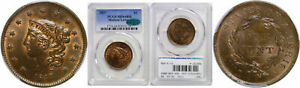 1837 Large Cent PCGS MS-64 RB CAC Medium Letters