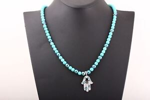 Turkish Handmade Jewelry Turquoise 925 Sterling Silver Necklace W Hamsa Pendant