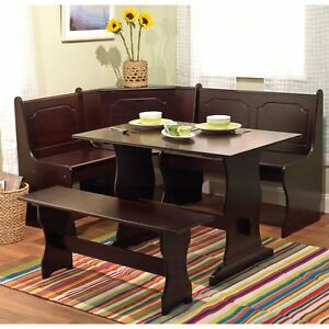 3 Piece Brown Corner Breakfast Nook Dining Set Home Seating Furniture Kitchen
