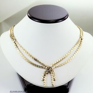 ANTIQUE VERY HIGH END HANDMADE 0.15 CT. DIAMOND NECKLACE SOLID 14K YELLOW GOLD