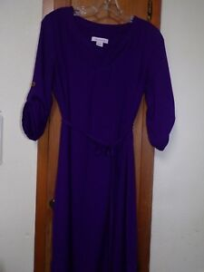 LIZ CLAIBORNE Purple 34 Roll-Tab Sleeves Pullover Belted Career Dress - Size 6